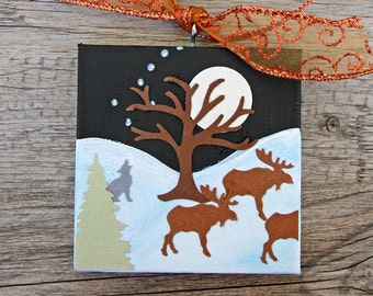 Mini Canvas Ornament, Winter Landscape with Trees, Three Moose and Wolf, Full Moon and Big Dipper, Mixed Media Art, Christmas Decoration