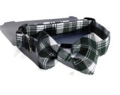 The Dublin Plaid Flannel Dog Collar and Bow Tie  Set