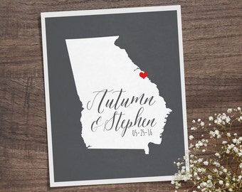 Georgia Wedding Gift - Personalized State and Heart - Custom Wedding Date - Location City and State Modern Art Print - 8x10 : Atlanta
