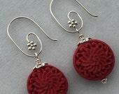 Red Carved Cinnabar Earrings, Sterling Silver Interchangeable Earrings, Red  Cinnabar Dangle Earrings,