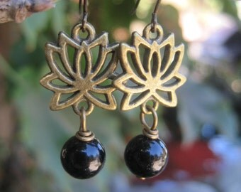 Brass Lotus Flower Boho Earrings Black Beaded