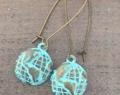 Globe Earrings, World Map Earrings, Travel, Adventure