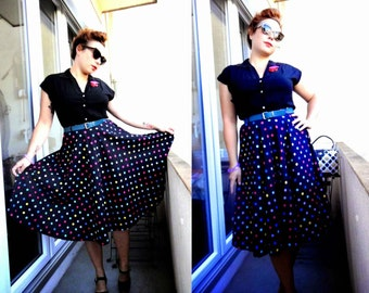 Beautiful 1980's Does 1950's Multicolor Polka Dots Full Skirt Rockabilly Pin-Up Style - Size M