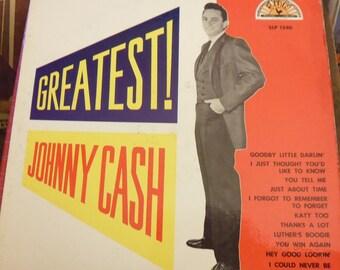 Johnny Cash Greatest,  country music, Sun Records, early Johnny Cash, Get Rhythm, Sun SLP 1240, rockabilly music, Tennessee Three