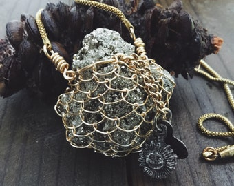 Raw pyrite cluster pendant necklace | wrapped pyrite, wire wrapped crystal, fools gold, boho pendant, Raw stone necklace