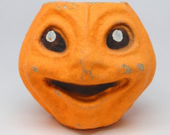 Vintage 1950's Halloween Jack-O-Lantern Candy Container, made with Pulp Paper Mache
