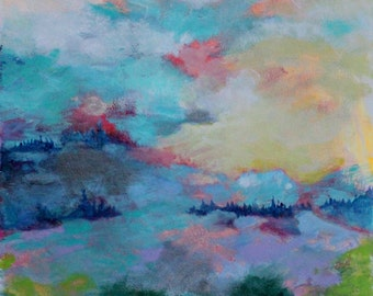 "Colorful Abstract Painting, Original Landscape on Paper, Clouds, Sky, ""Swept In"" 12x12"""