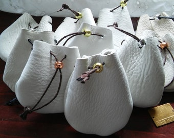 10 Winter White 2.5x2.5 inch Pouches, Buy One or Buy All,Drawstring Closures.,Metallic Crow Bead,Many Uses, Great Gift,