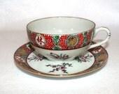 Asian Tea Cup and Saucer Set, Tradewinds Decorated China Ware, Singapore, Mun Shou