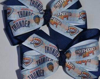 Set of Two Oklahoma City Thunder Hair Bows NBA Basketball