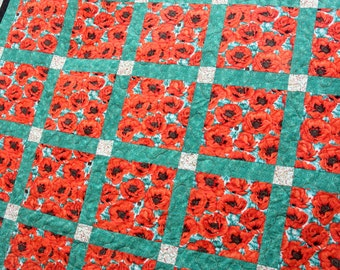 Charity Red Poppy Double Patchwork Quilt Handmade by Pingwynny