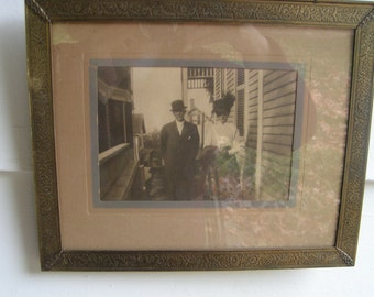 VICTORIAN Couple PHOTOGRAPH BRASS Engraved Frame Gingerbread Houses