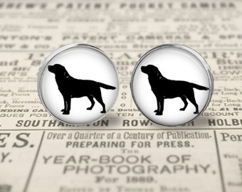 Labrador Retriever Dog Button Earrings