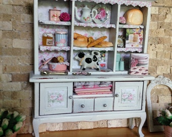 Dollhouse Miniature Vintage Shabby Chic Farmhouse Country Armoire Curio Cabinet Storage Kitchen Hutch Kitchen Accessories