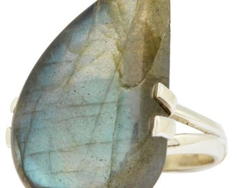 Large Teardrop Labradorite with a Slight Curve to Stone Ring Solid 925 Silver Jewelry Size 6  SALE! PRICE SLASHED!