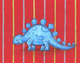 Dinosaur Art Dinosaur Wall Art Kids Dinosaur Stegosaurus Art Boys Wall Art Dinosaur Decor Kids Wall Art Bedroom Wall Art Lisa Marie Keys