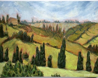"""Original abstract Italian landscape painting mixed media - """"A Life in Curves and Angles"""""""