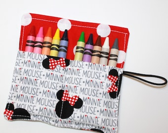 FAST SHIP! Crayon Rolls Party Favors, made from Minnie Mouse Ears fabric, holds 10 crayons, Birthday Party Favors