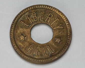 Trade Token - Vintage Liberty Bell Brass Token - Slot Machine Token