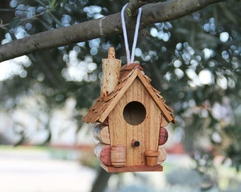 Small hanging birdhouse, wood and wine corks