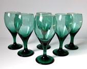 Vintage Wine Glasses, Teal Green Teardrop Glass Goblets, Gold Rim, Set of 6, 12 oz Goblets, Retro Bar Glasses, Emerald Green Barware