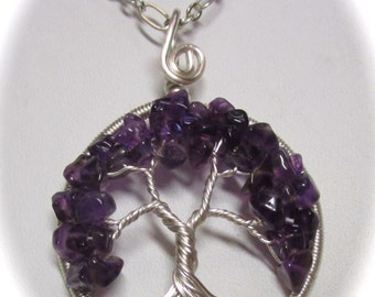 Wire Wrapped Tree of Life, Amethyst and Peridot Tree of Life