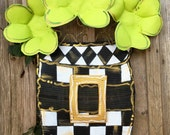 Mackenzie Childs Inspired St Patricks Day Door Hanger, Black and white checkered Pot with Three Large Clovers and Large Gold Buckle