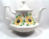 Sunflower hand painted tea pot