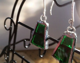 Asymmetrical Green Stained Glass earrings