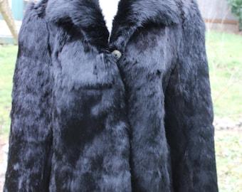 Beautiful Fuzzy Soft Black Rabbit Ladies Coat Size Large