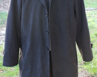 Men's Vintage Giorgio Armani Black Ultra suede Coat with Wool Liner Size XL