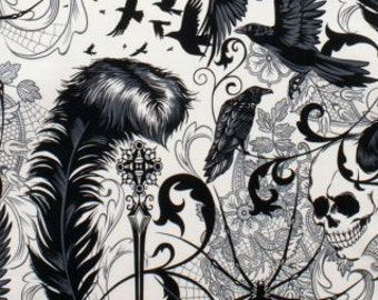 After Dark by Alexander Henry, Skull Fabric, Gothic Fabric, Halloween Fabric, Bats and Lace, 145549