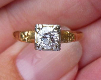 ART DECO Antique 14KT white and yellow gold  half carat  VS2 E color  Old European Cut Diamond Engagment Ring