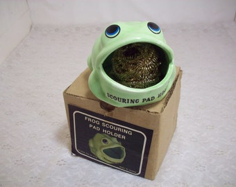 Vintage Green Ceramic Frog Scouring Pad Holder In Box