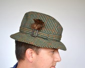 plaid fedora wool hat - barbour hat - mens
