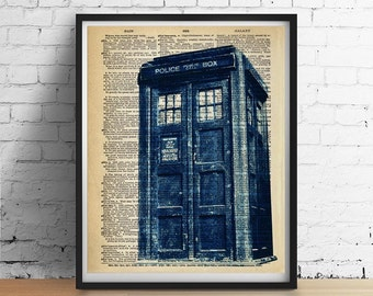 TARDIS Art Print Poster, Doctor Who Wall Decor, Distressed Blue British Police Call Box Booth, English Vintage Dictionary Art Giclee