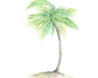 Watercolor tropical art, beach art, tropical plant, plant art, watercolor painting, tropical watercolor, palm leaf art, tropical nursery