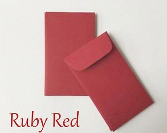 25 Ruby Red  Coin Envelopes, brown bag kraft. Perfect for wedding favors, letterpress, crafts, small eco friendly