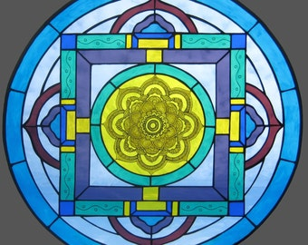 Mandala Stained Glass Art Window Panel With Flower Center. Beautiful  Transparent Glass With Traditional Kiln
