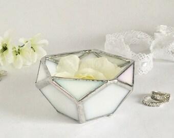 Wedding Ring Box Glass Ring Bearer White Glass Box Geometric Box Wedding Gift Engagement Ring Box Gift for Her