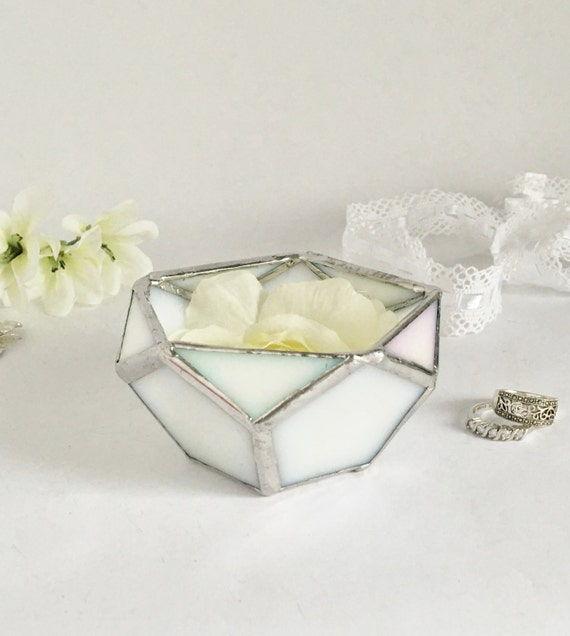Glass Wedding Gift Box : Wedding Ring Box, White Glass Box, Geometric Box, Wedding Gift, gift ...