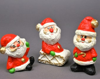 Vintage Three Silly Santas for your Kitschmas or Christmas Decor R B Japan