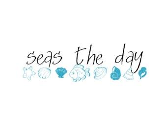 SVG - Seas the Day - Beach - Beach Decor - Lake Decor - Lake Design - Maritime - Nautical - Seashell design - Pallet Sign - Sign Design