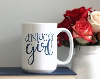 Kentucky Girl Hand Lettered Ceramic Mug (11 oz or 15 oz)
