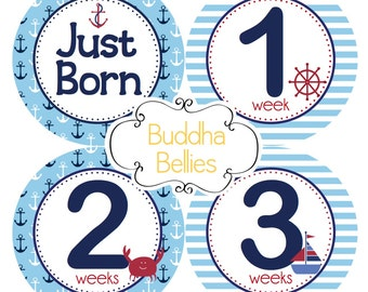 Newborn Set of Baby Stickers Includes Just Born Sticker plus Weeks 1-3 Stickers - Nautical Baby Shower Gift for New Moms