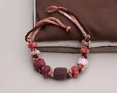 Rustic statement necklace in autumn colors Fiber knitted jewelry with bamboo beads, OOAK