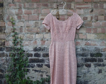 1950s stunning pink lace wiggle dress with beading and train