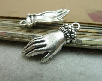 30pcs 26X12mm antique silver  Tone Hand charms Pendants C7217