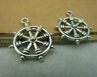 20pcs 22*27mm antique silver rudder charms pendant C3846