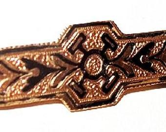 Georgian Bar Brooch Pin 10Kt Gold Metal Taille De Epergene Tube Pin Fastener 1860s-80s Vintage